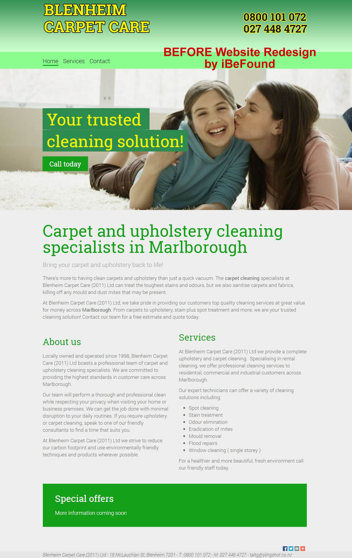 Homepage of Blenheim Carpet Care Before Website Redesign by iBeFound