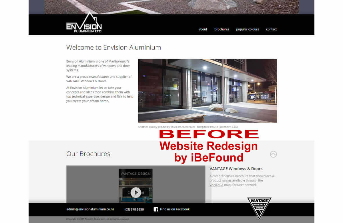 Homepage of Envision Aluminium before Website Redesign by iBeFound