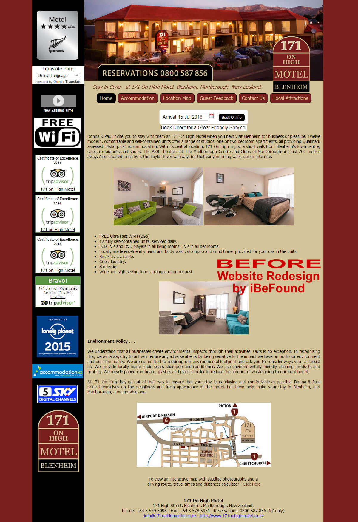 Homepage Of 171 On High Motel Before Website Redesign By iBeFound Digital Marketing Division