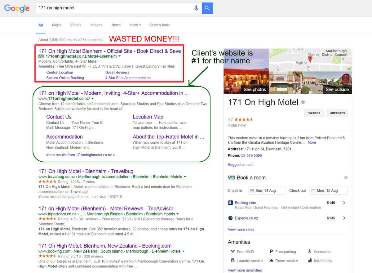 Google Page 1 Results For Biz Name Of 171 On High Motel