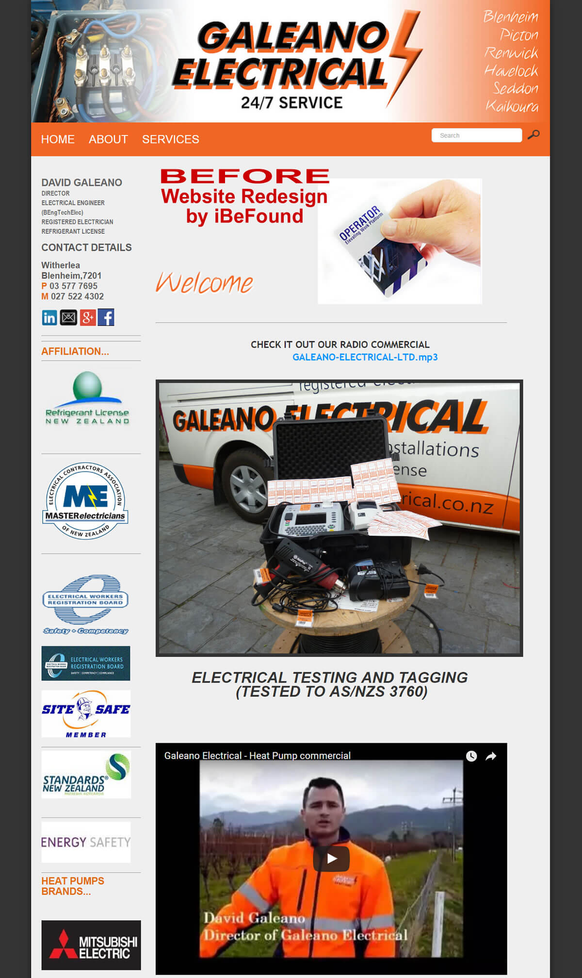 Homepage Of Galeano Electrical Before Website Redesign By Ibefound