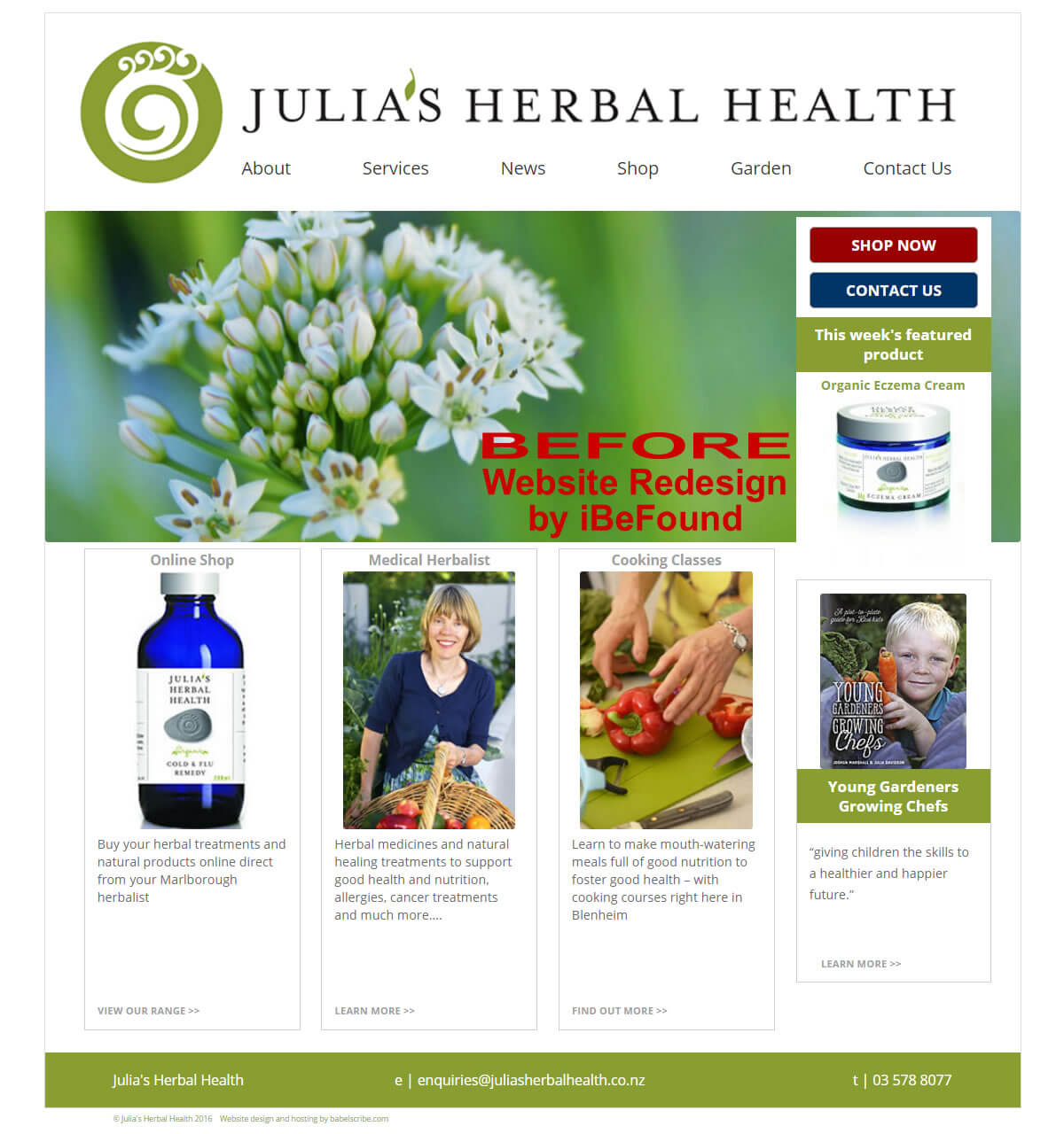 Homepage Of Julias Herbal Health Before Website Redesign By Ibefound
