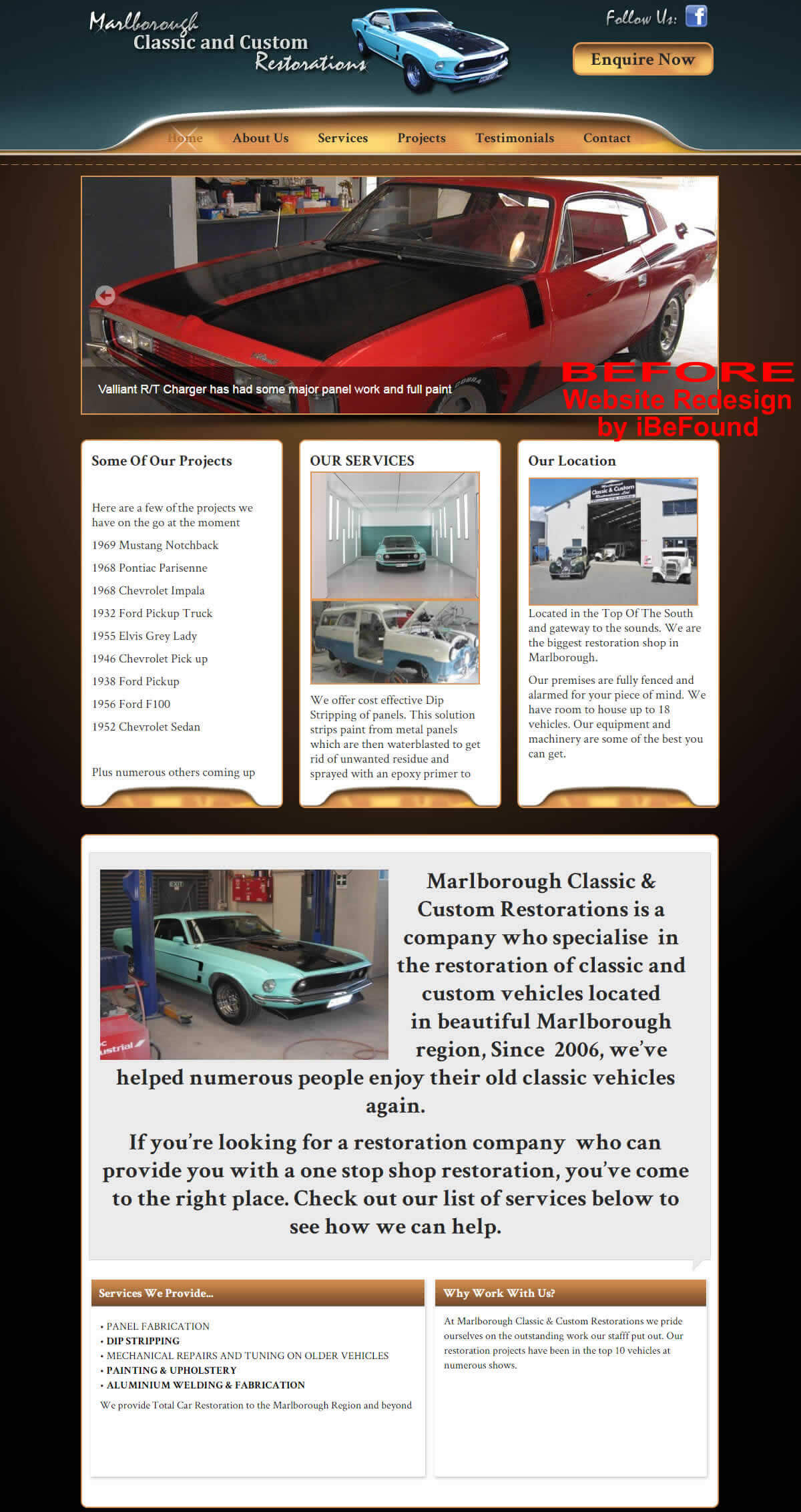 Homepage Of Marlborough Classic And Custom Restorations Before Website Redesign By iBeFound