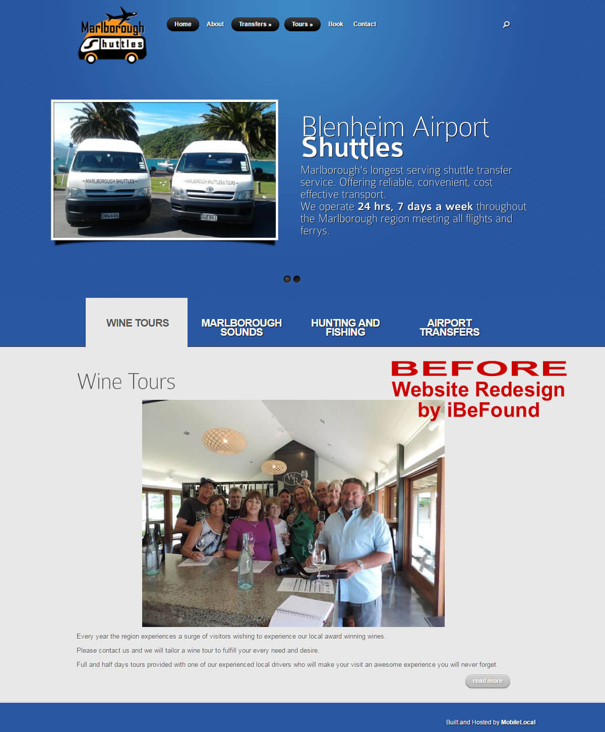 Homepage Of Marlborough Shuttles Before Website Redesign By iBeFound