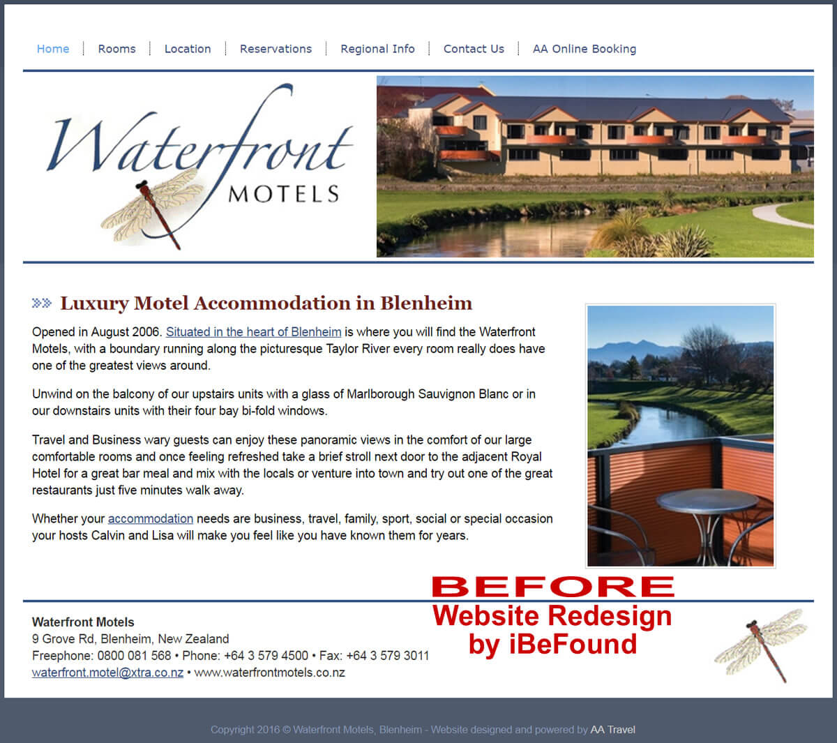 Homepage Of Waterfront Motels Before Website Redesign By iBeFound