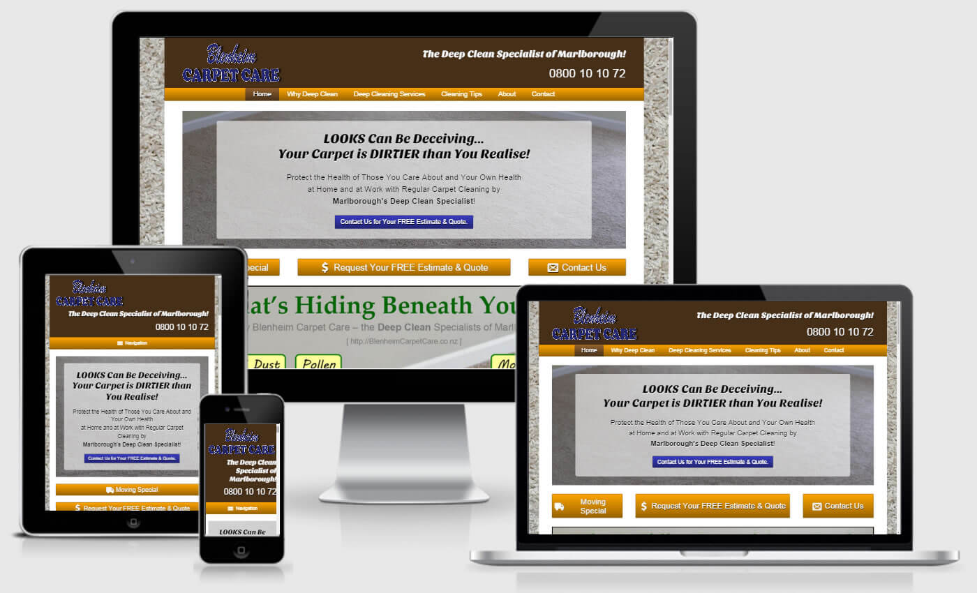 Website Re-Design for Blenheim Carpet Care by iBeFound Digital Marketing Division Marlborough NZ