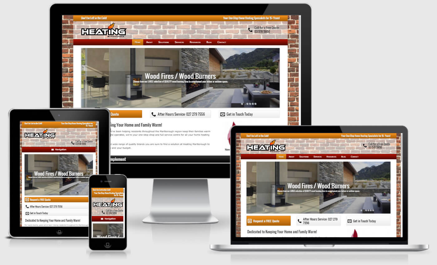 Website Design For Heating Marlborough by iBeFound Digital Marketing Division Blenheim NZ