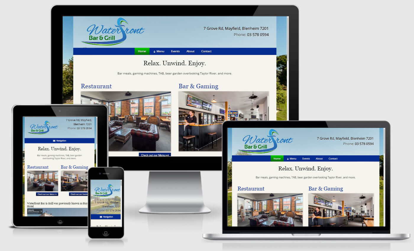 Website Design For Waterfront Bar And Grill By iBeFound Digital Marketing Division