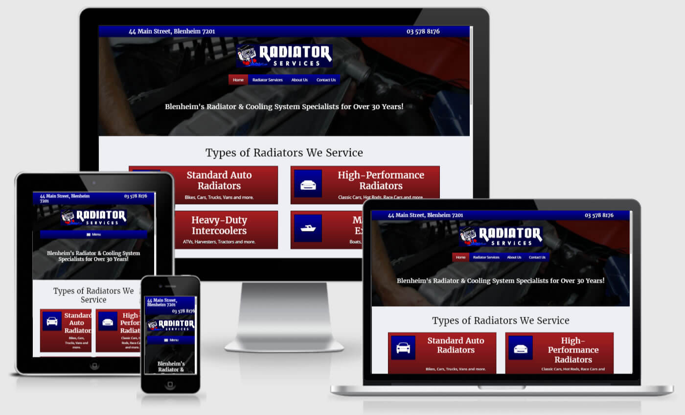 Website Design For Radiator Services By IBeFound Digital Marketing Division