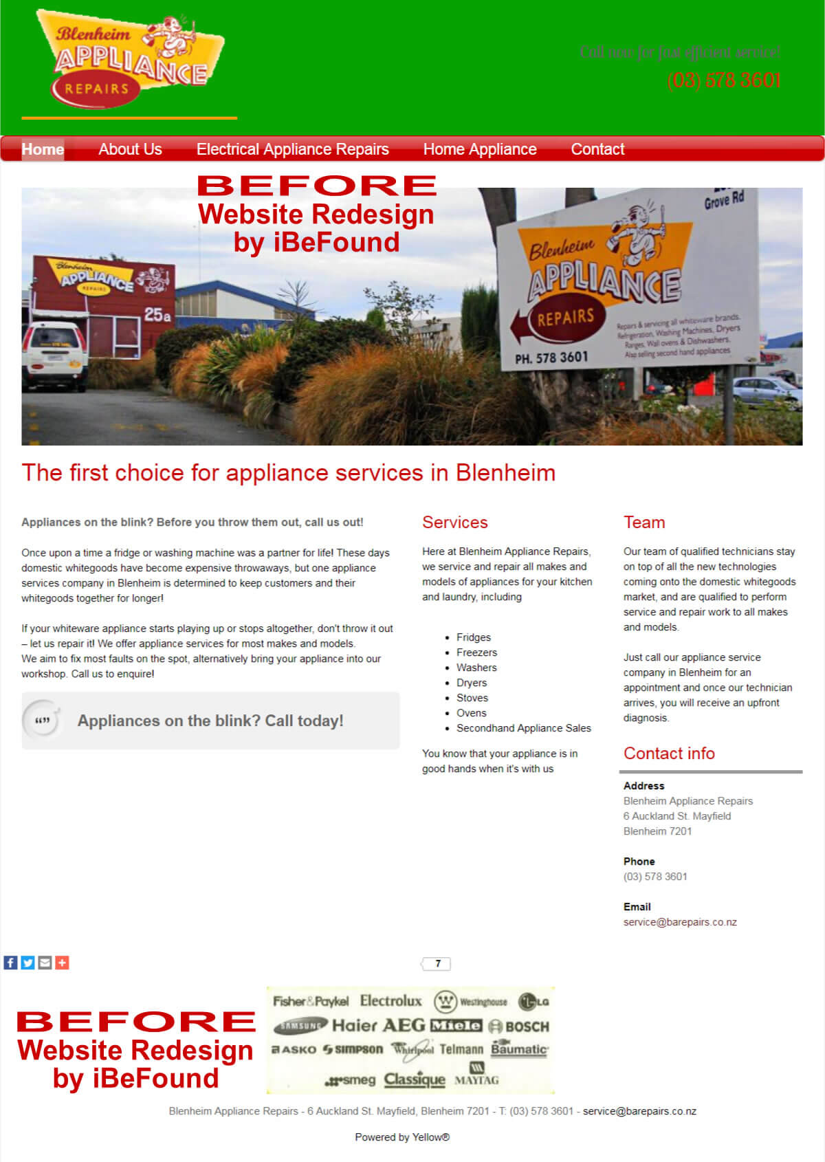 Homepage Of Blenheim Appliance Repairs Before Website Redesign By IBeFound