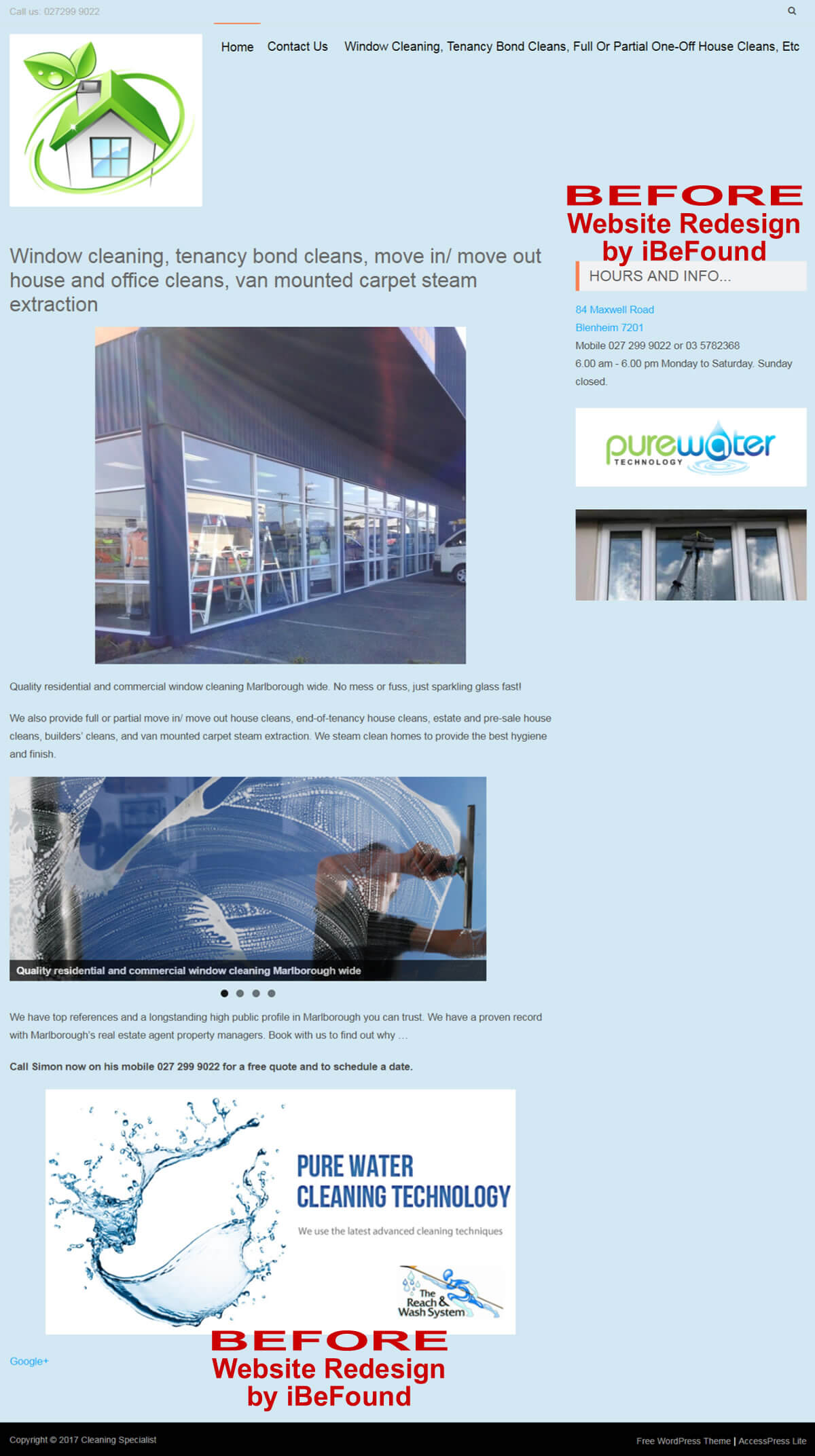 Homepage Of Cleaning Specialist Before Website Redesign By IBeFound