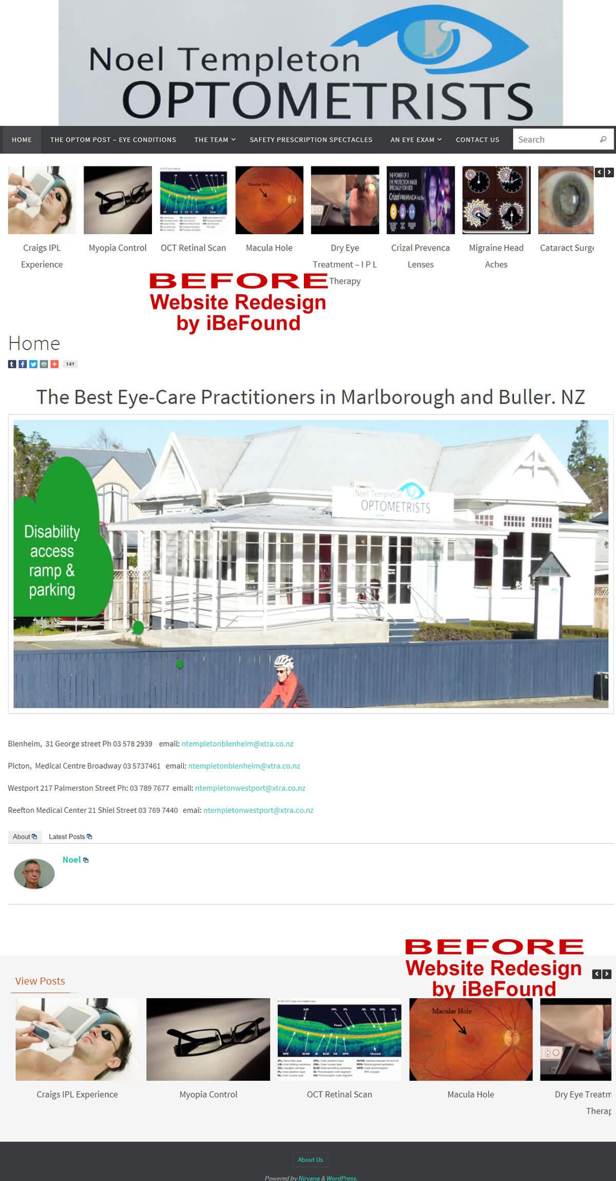Homepage Of Noel Templeton Optometrists Before Website Redesign By IBeFound