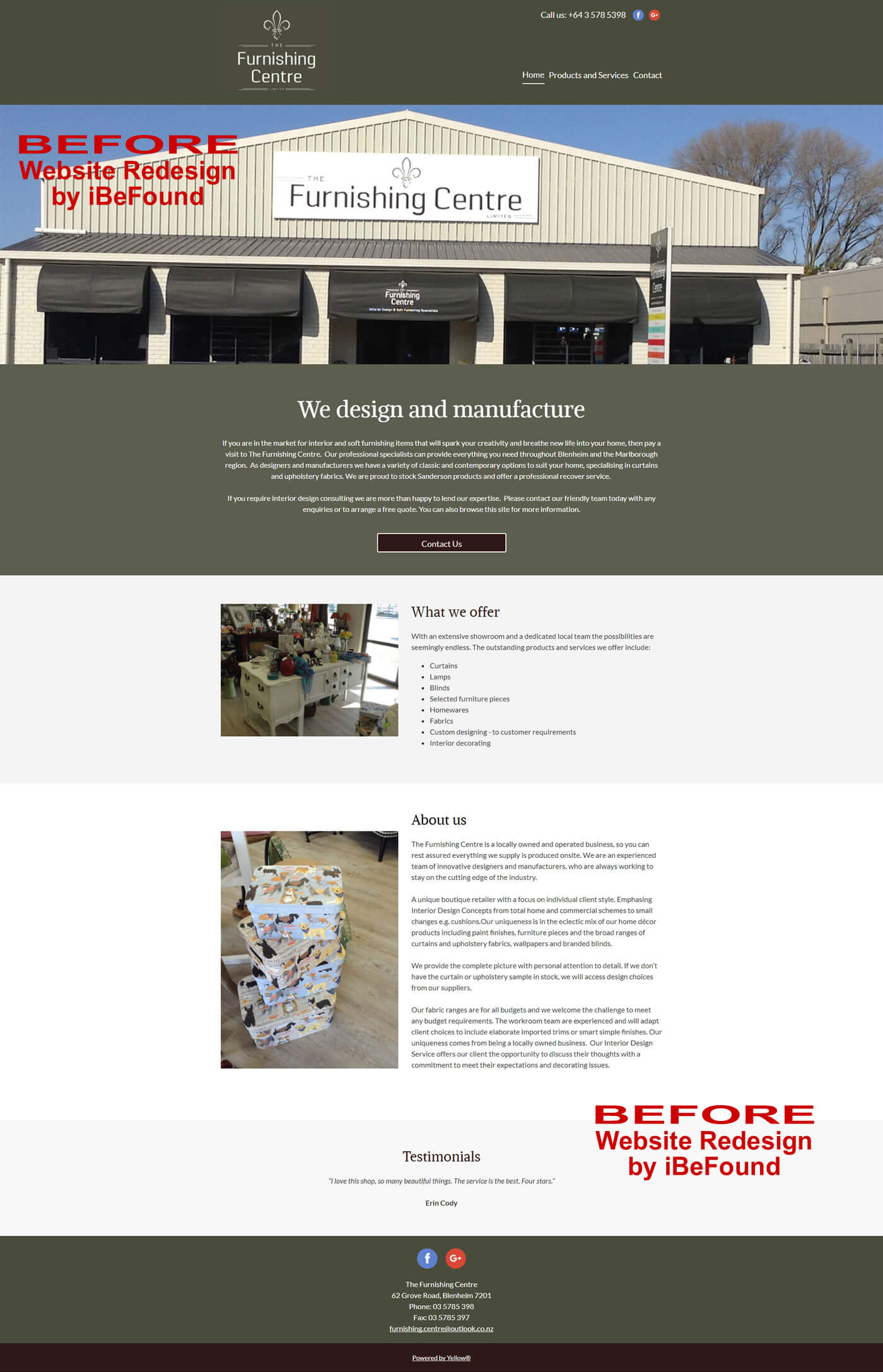 Homepage Of The Furnishing Centre Before Website Redesign By IBeFound Digital Marketing Division