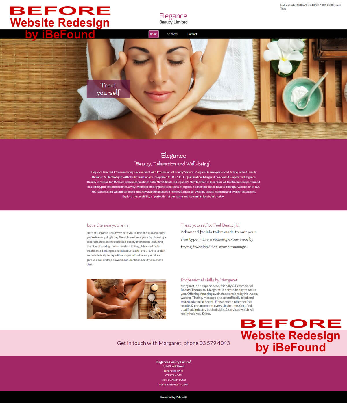 Homepage Of Elegance Beauty Ltd Before Website Redesign By IBeFound Digital Marketing Division In Marlborough