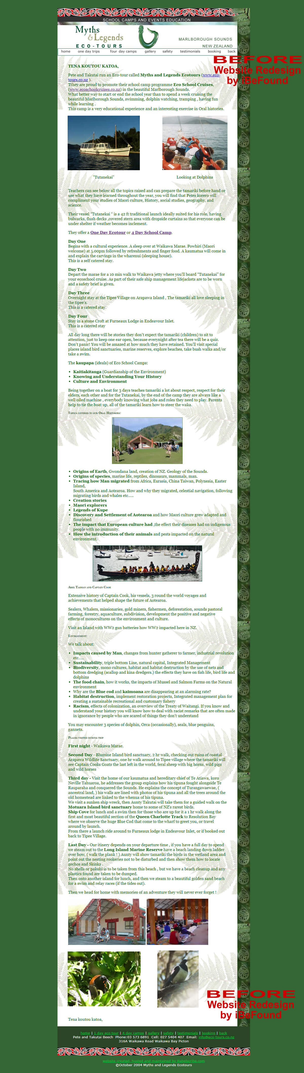 Homepage Of Maori Eco School Cruises Before Website Redesign By IBeFound Digital Marketing Division