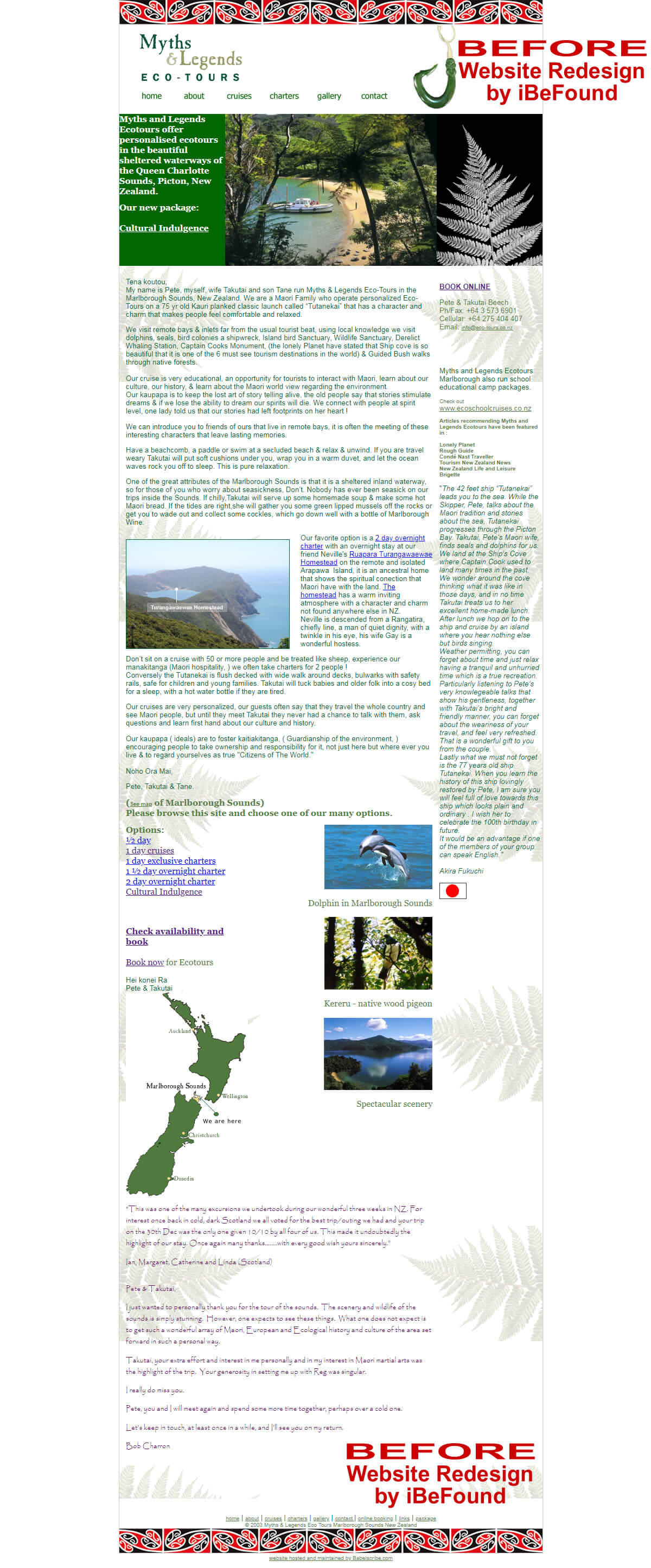 Homepage Of Maori Eco Tours Before Website Redesign By IBeFound Digital Marketing Division