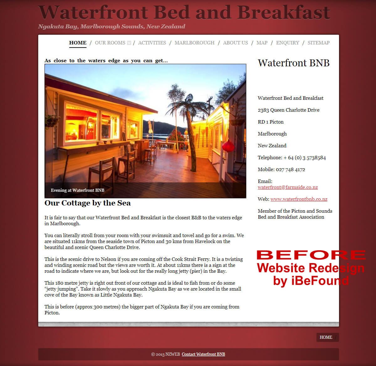 Homepage Of Waterfront Bed And Breakfast Before Website Redesign By IBeFound Digital Marketing Division