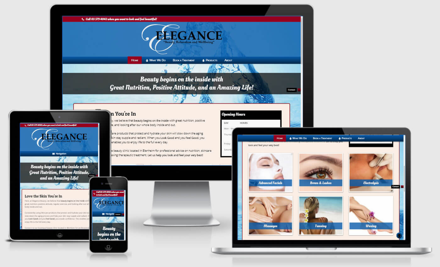 Website Design For Elegance Beauty By iBeFound Digital Marketing Division In Blenheim NZ