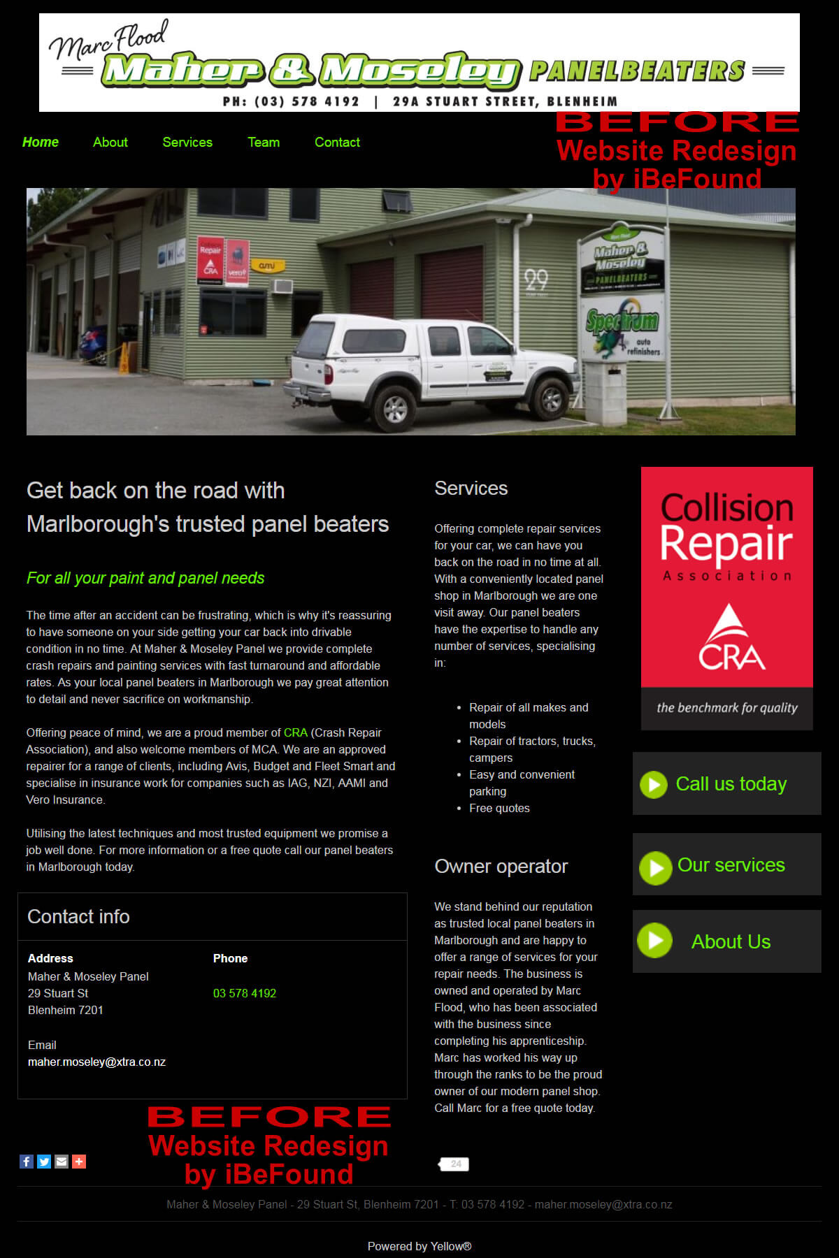 Homepage Of Marlborough Panel And Paint Before Website Redesign By IBeFound Digital Marketing Division