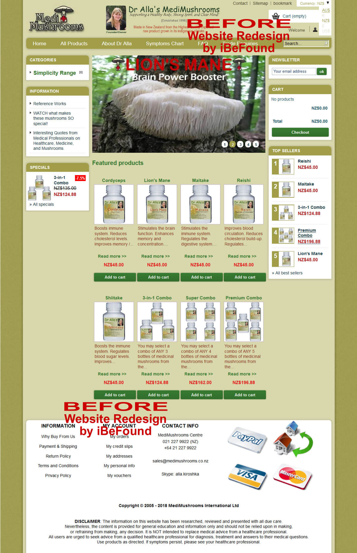 Homepage Of MediMushrooms International Ltd Before Website Redesign By IBeFound Digital Marketing Division