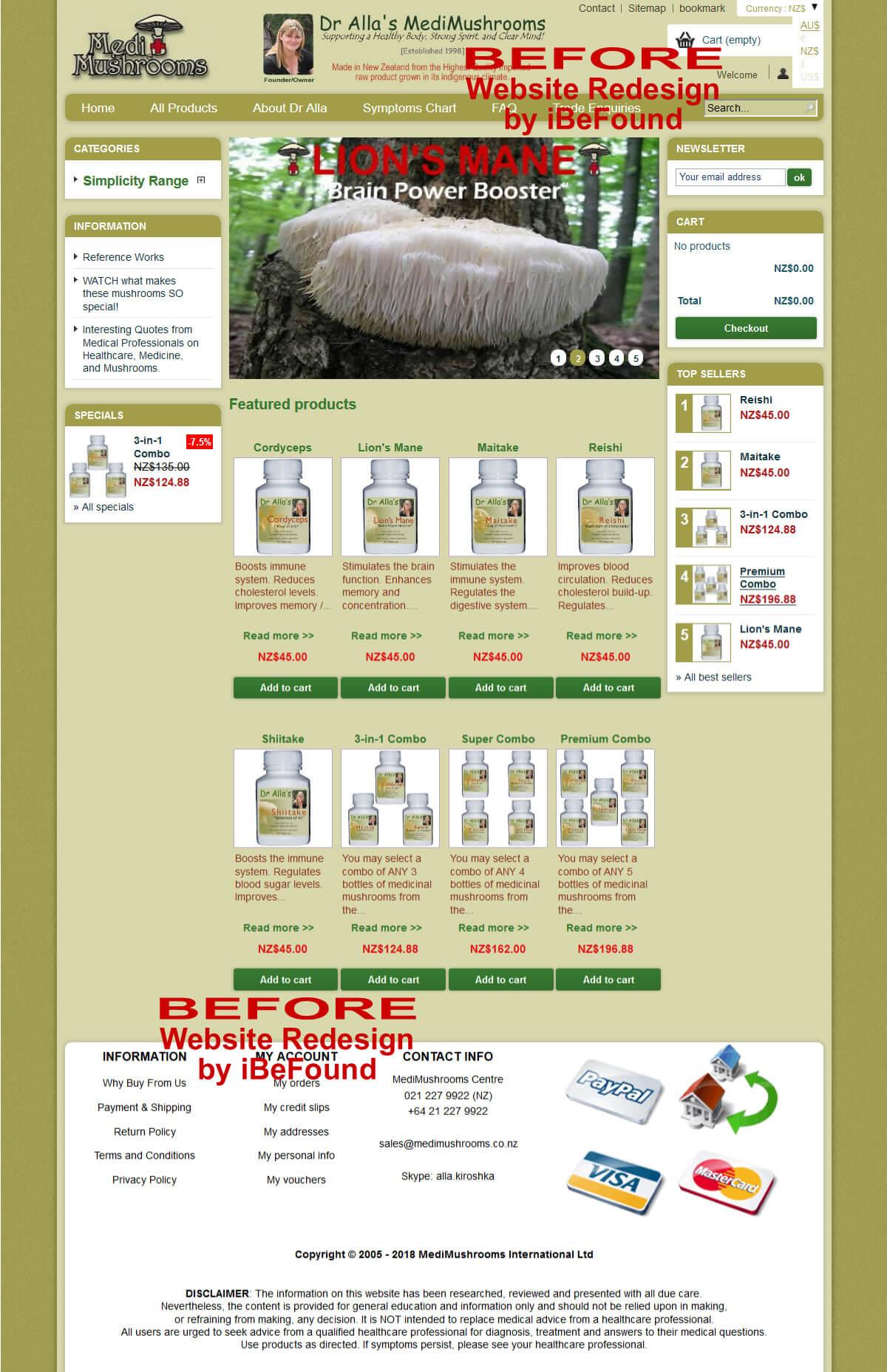 Homepage Of MediMushrooms International Ltd Before Website Redesign By IBeFound Digital Marketing Division