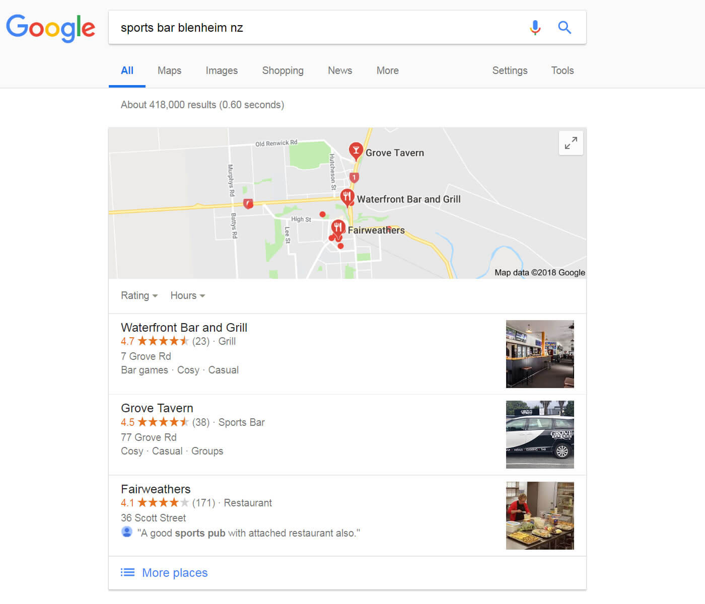 Google Search Results For Grove Tavern in Blenheim NZ On 2018 06 27