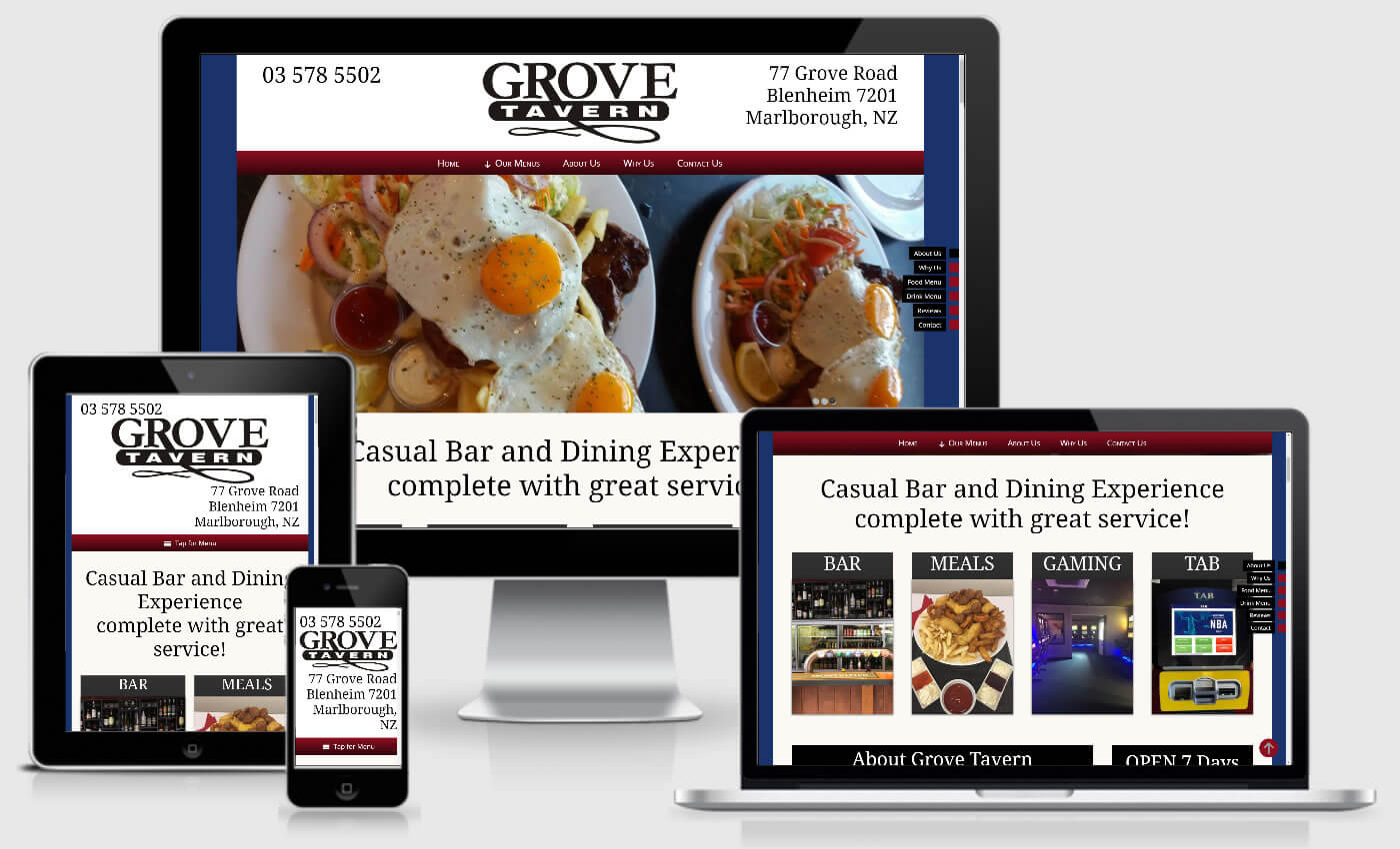 Website Design For Grove Tavern By IBeFound Digital Marketing Division