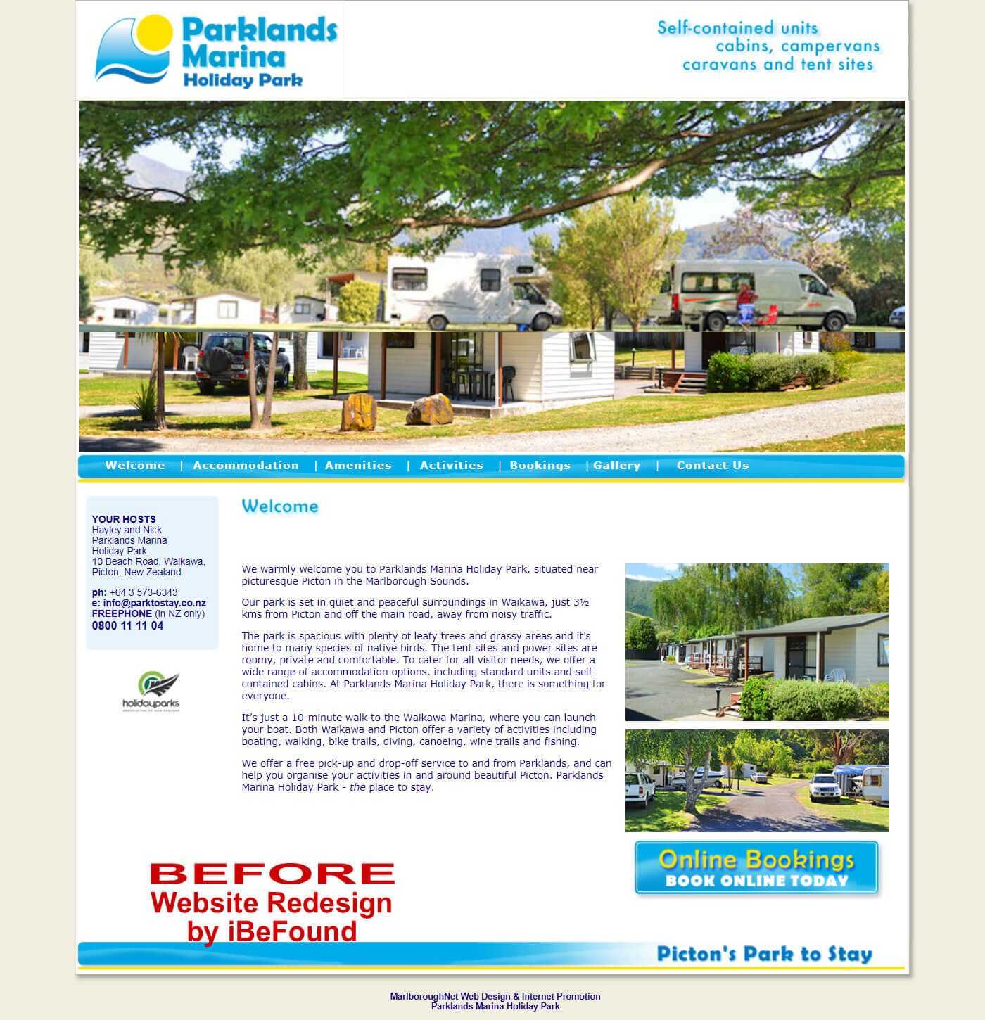 Homepage Of Parklands Marina Holiday Park In Picton Before Website Redesign By IBeFound