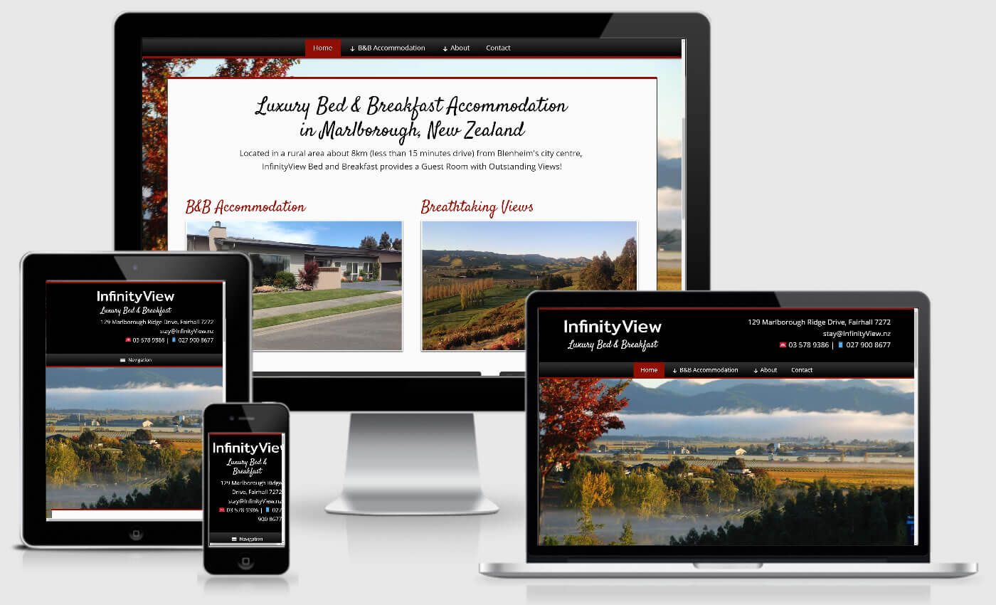 Website Design For InfinityView Bed And Breakfast By iBeFound Digital Marketing