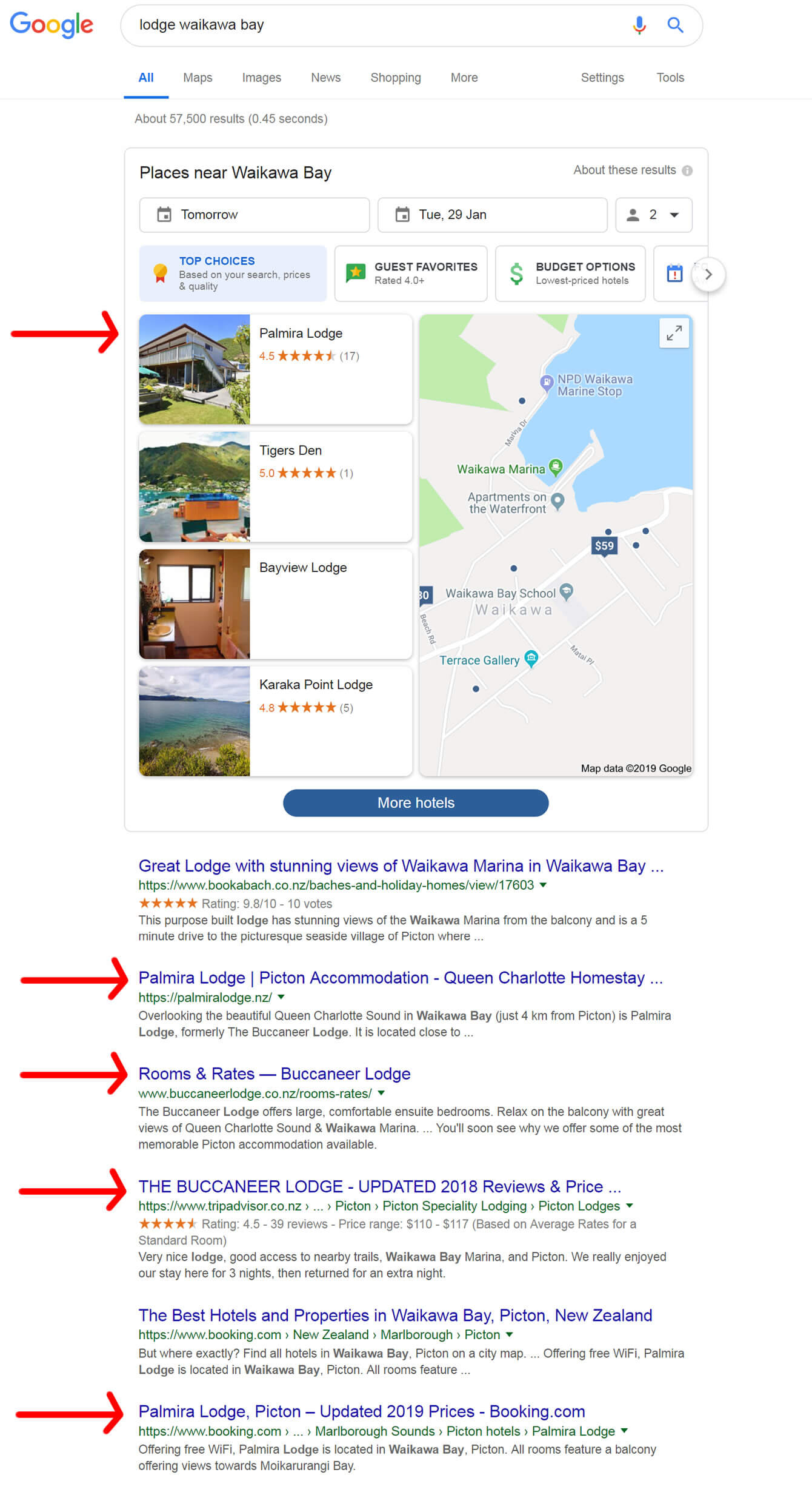 SERP Results For Palmira Lodge In Picton Main Keyword On 2019-01-27