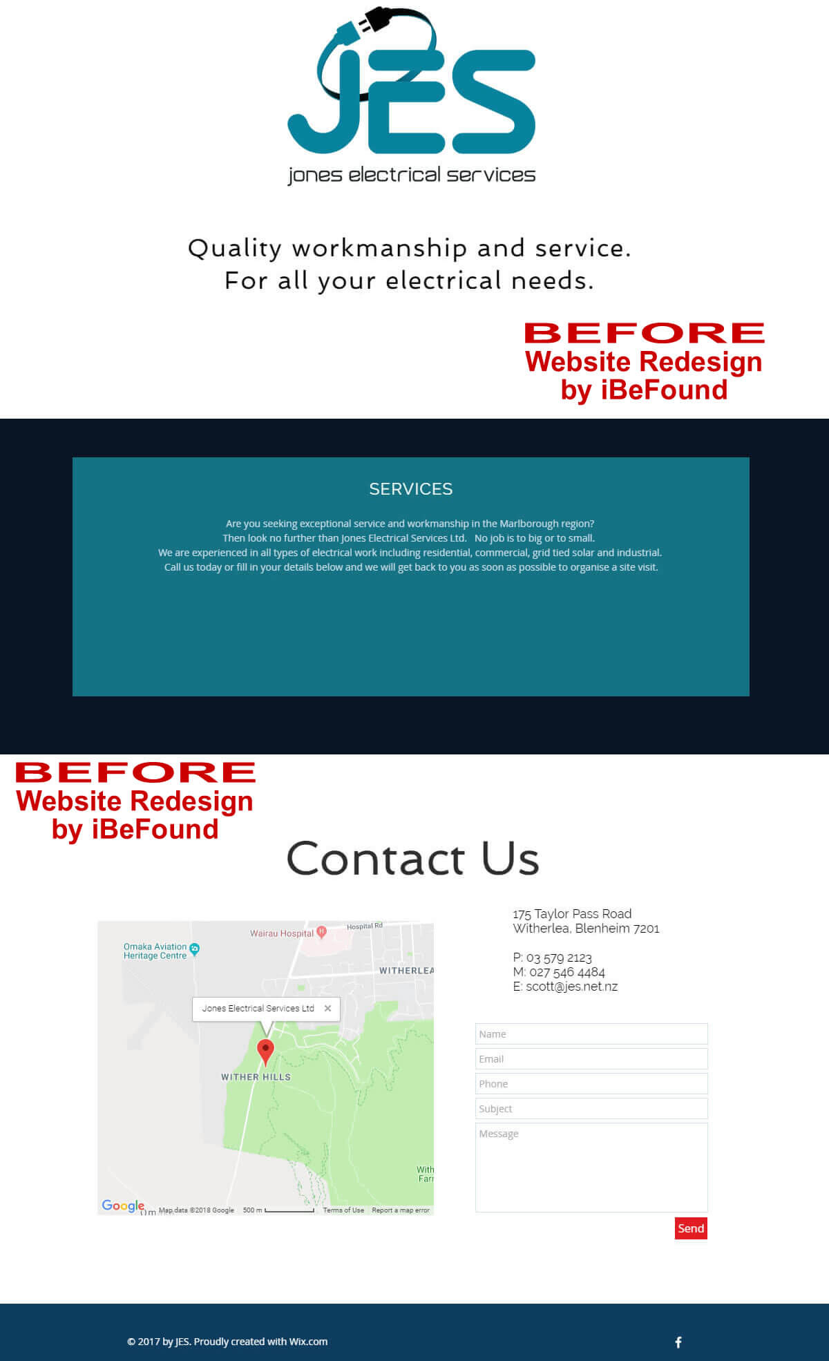 Homepage Of Jones Electrical Services Ltd Before Website Redesign By IBeFound