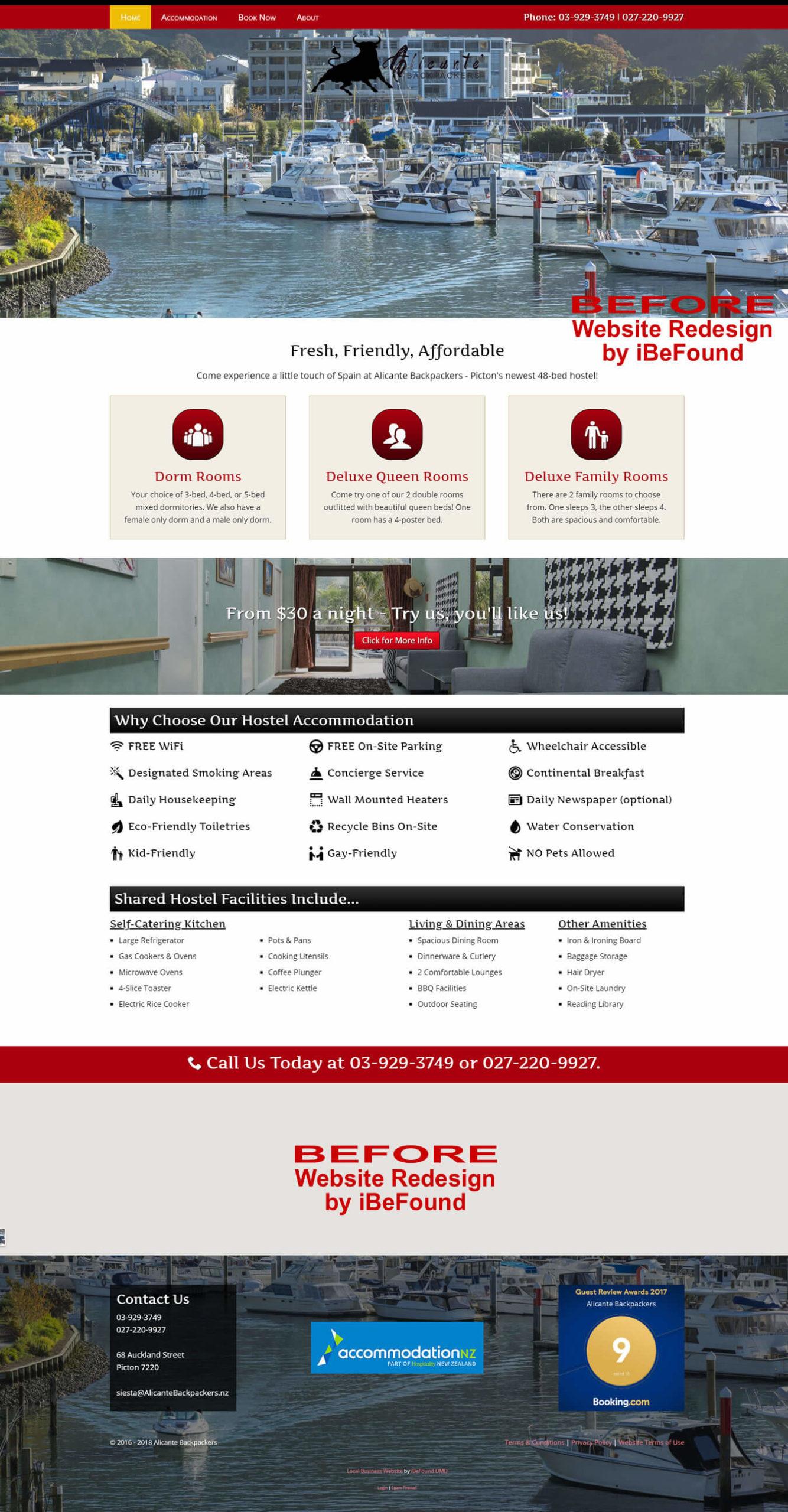 Homepage Of Piwaka Lodge & Backpackers Before Website Redesign By iBeFound