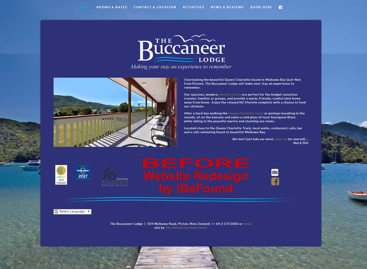 Homepage Of The Buccaneer Lodge Before Website Redesign By IBeFound