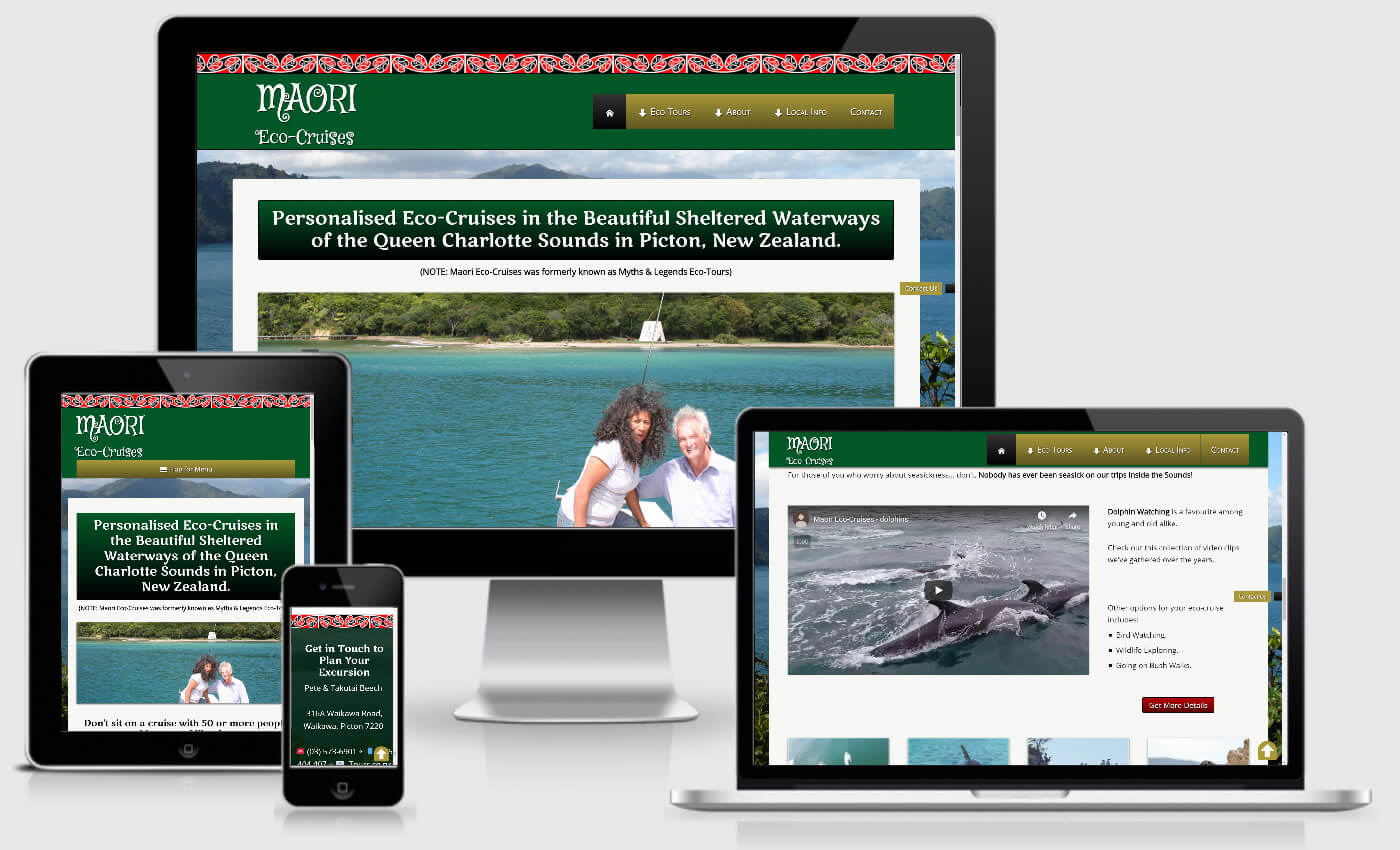 Website Design For Maori Eco Cruises By IBeFound