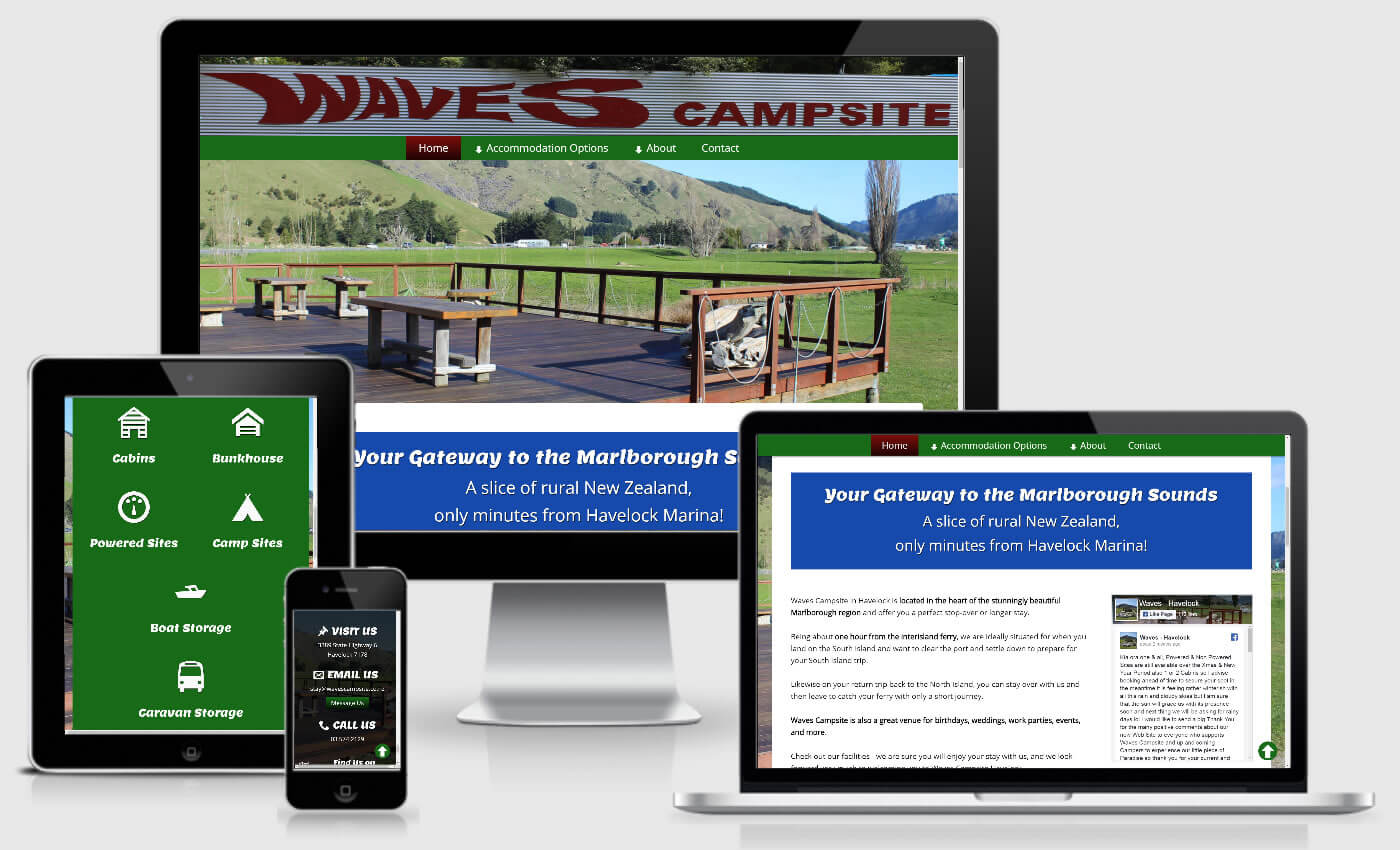Website Design For Waves Campsite By iBeFound