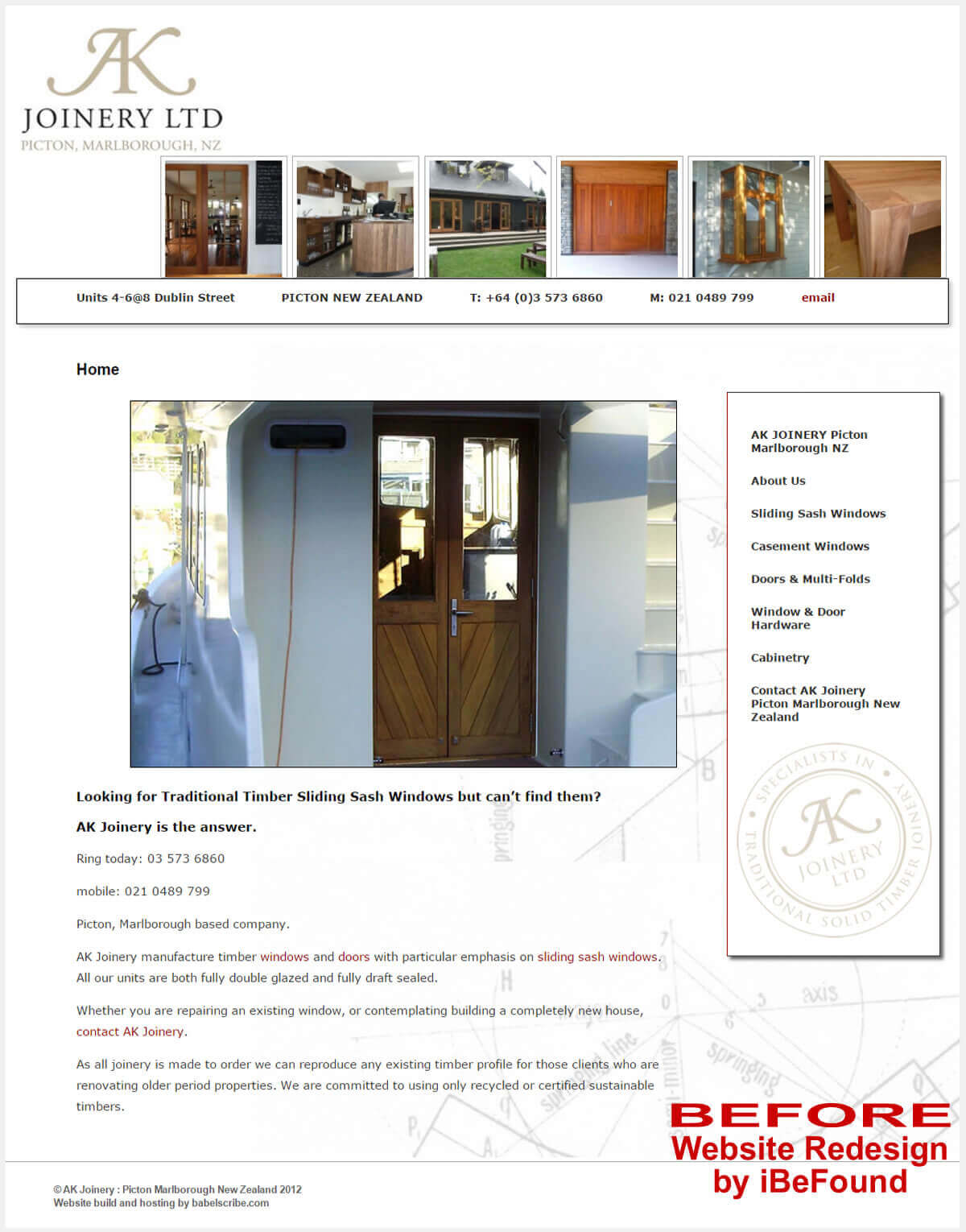 Homepage Of AK Joinery Before Website Redesign By IBeFound Digital Marketing