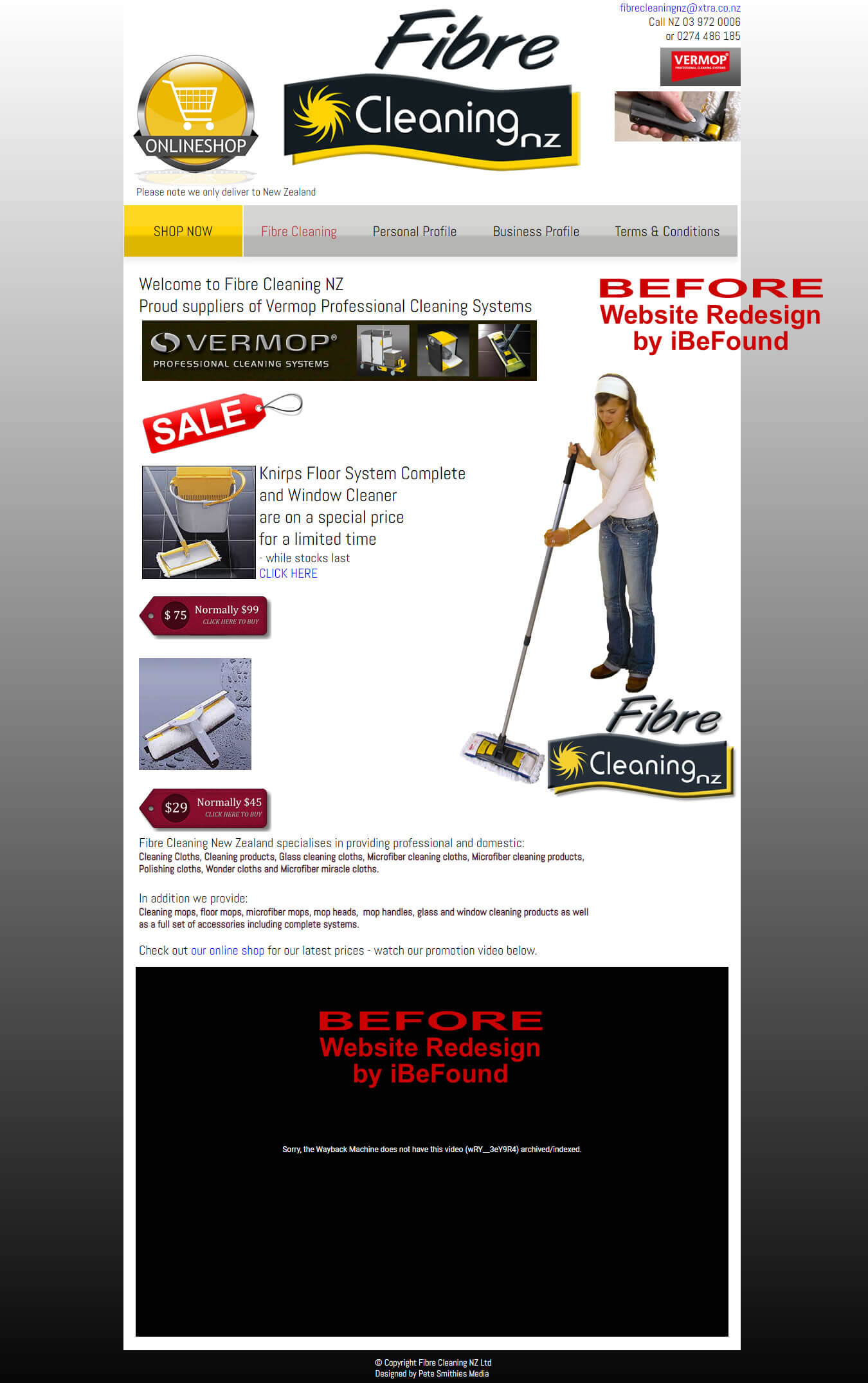 Homepage Of Fibre Cleaning NZ Ltd Before Website Redesign By IBeFound Digital Marketing