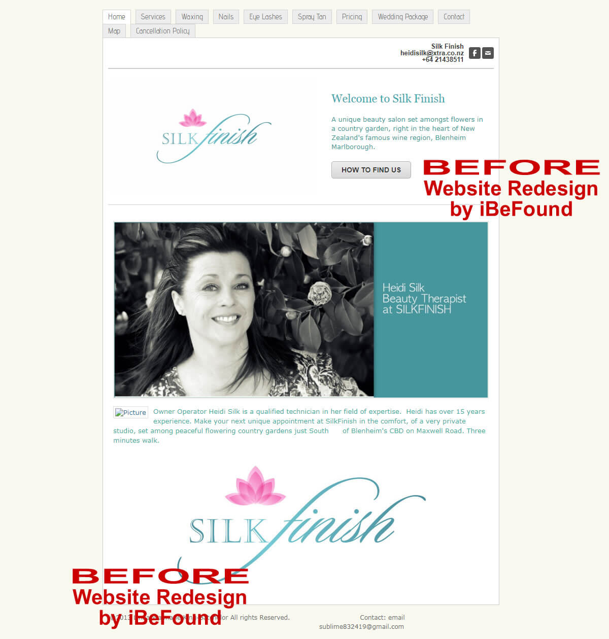 Homepage Of Silk Finish Beauty Salon Before Website Redesign By IBeFound Digital Marketing