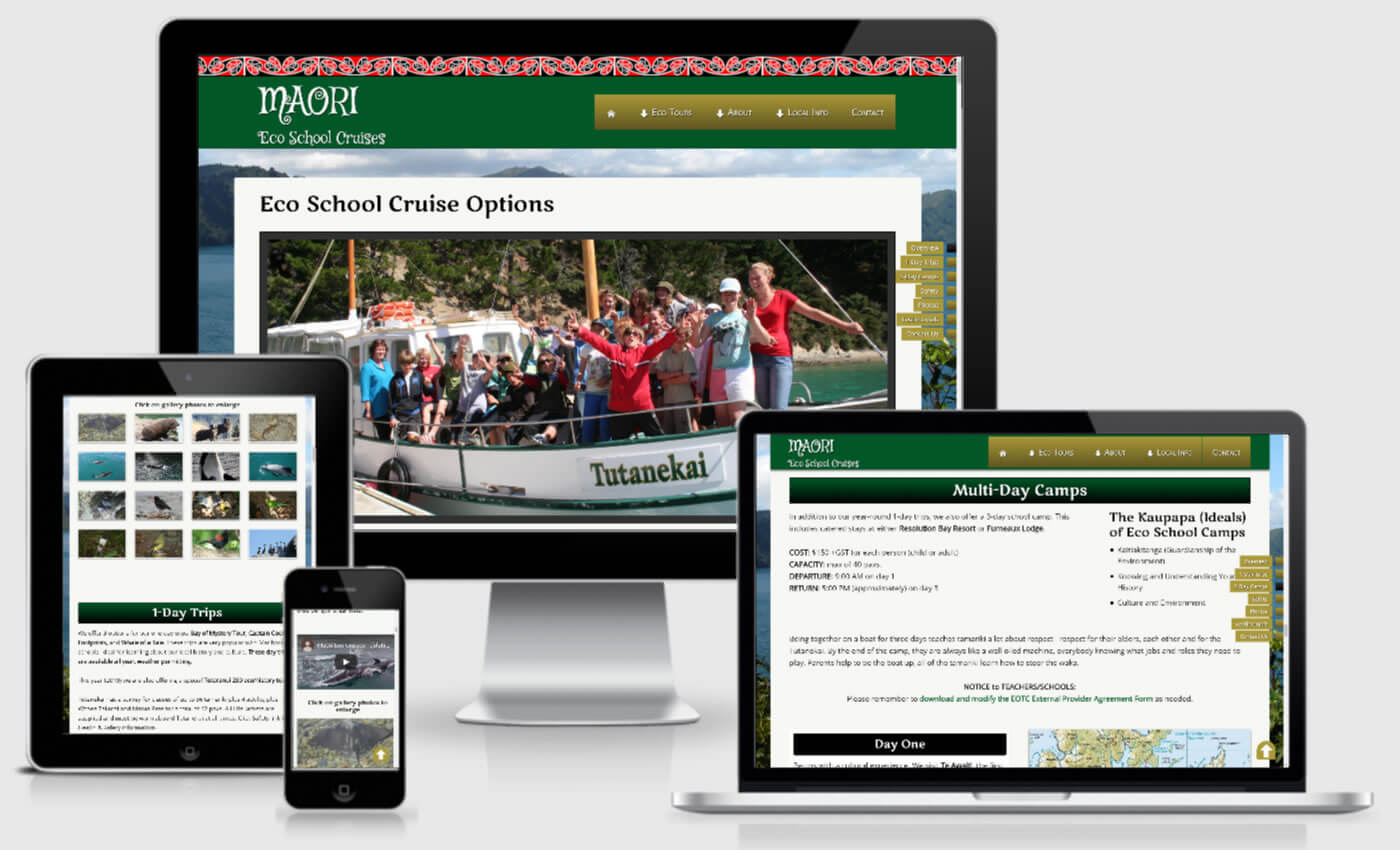 Website Design For Maori Eco School Cruises By IBeFound Digital Marketing