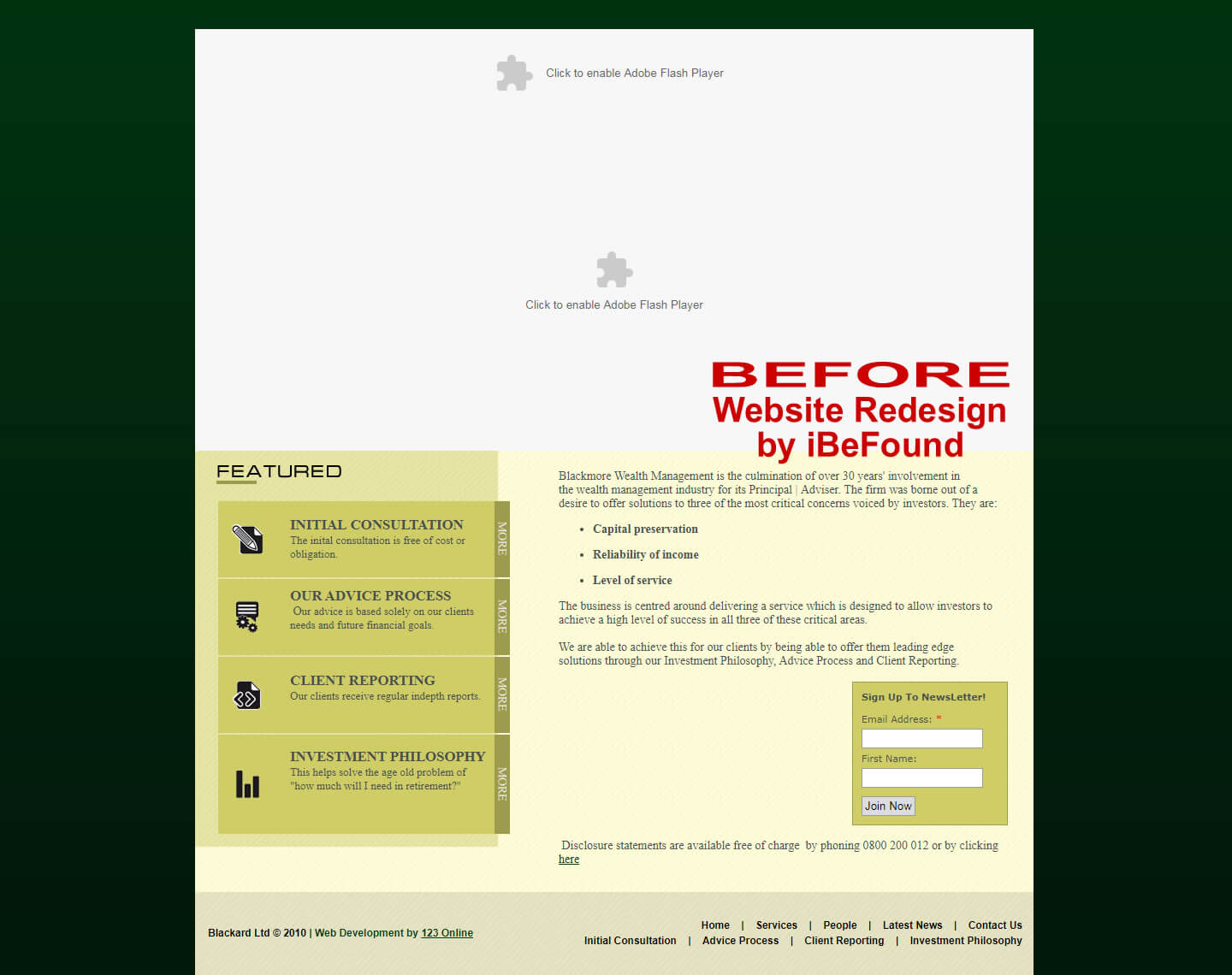 Homepage Of Blackmore Wealth Management Before Website Redesign By IBeFound Digital Marketing