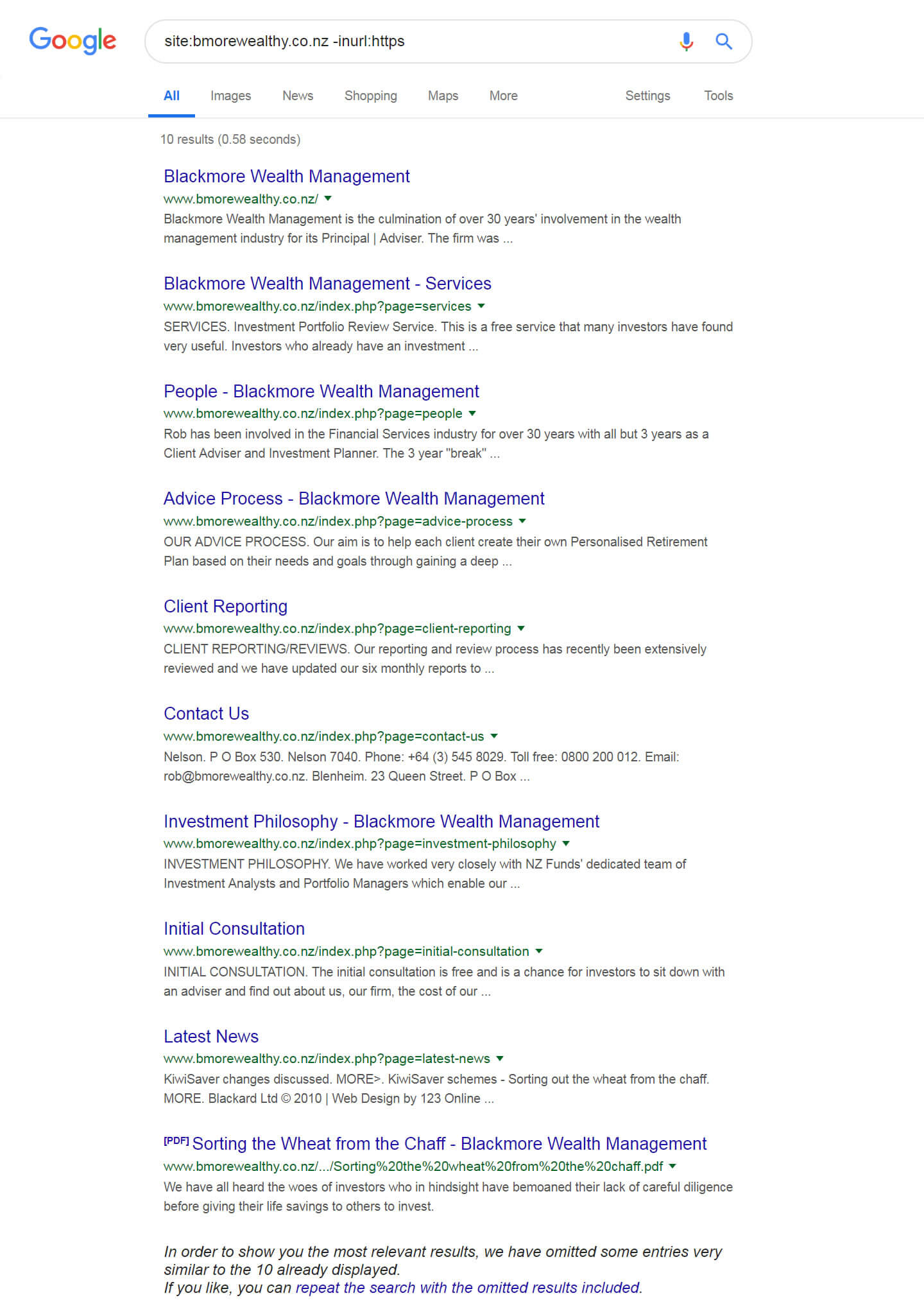 Site Search For HTTP Version Of Blackmore Wealth Management