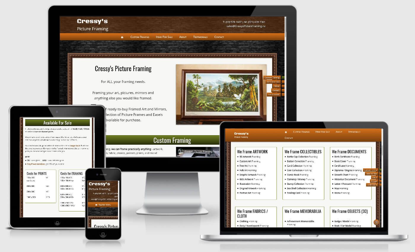 Website Design For Cressys Picture Framing By iBeFound Digital Marketing