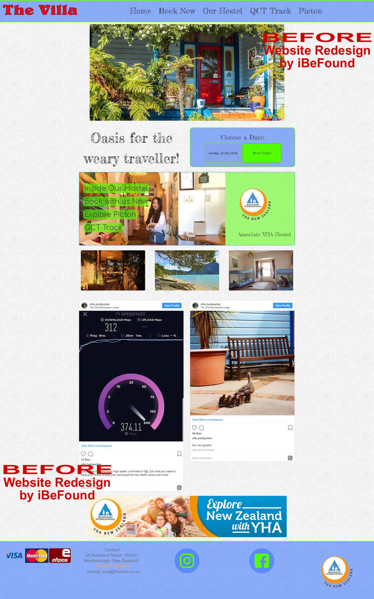 Homepage Of The Villa Backpackers Lodge Before Website Redesign By iBeFound