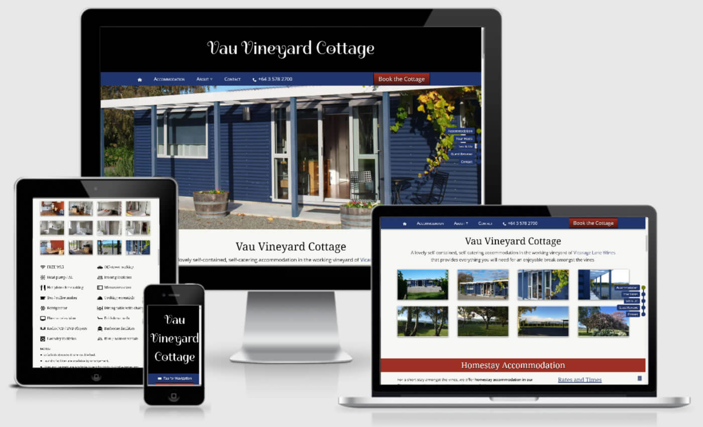 Website Design For Vau Vineyard Cottage By iBeFound Digital Marketing NZ