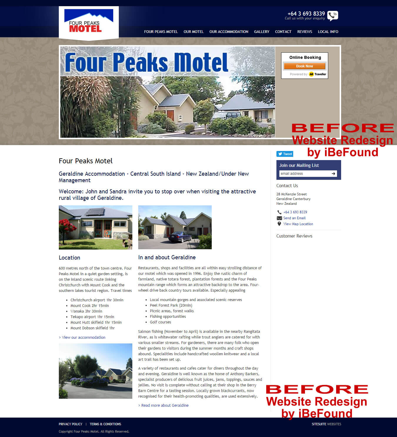 Homepage Of Four Peaks Motel Before Website Redesign By iBeFound Digital Marketing