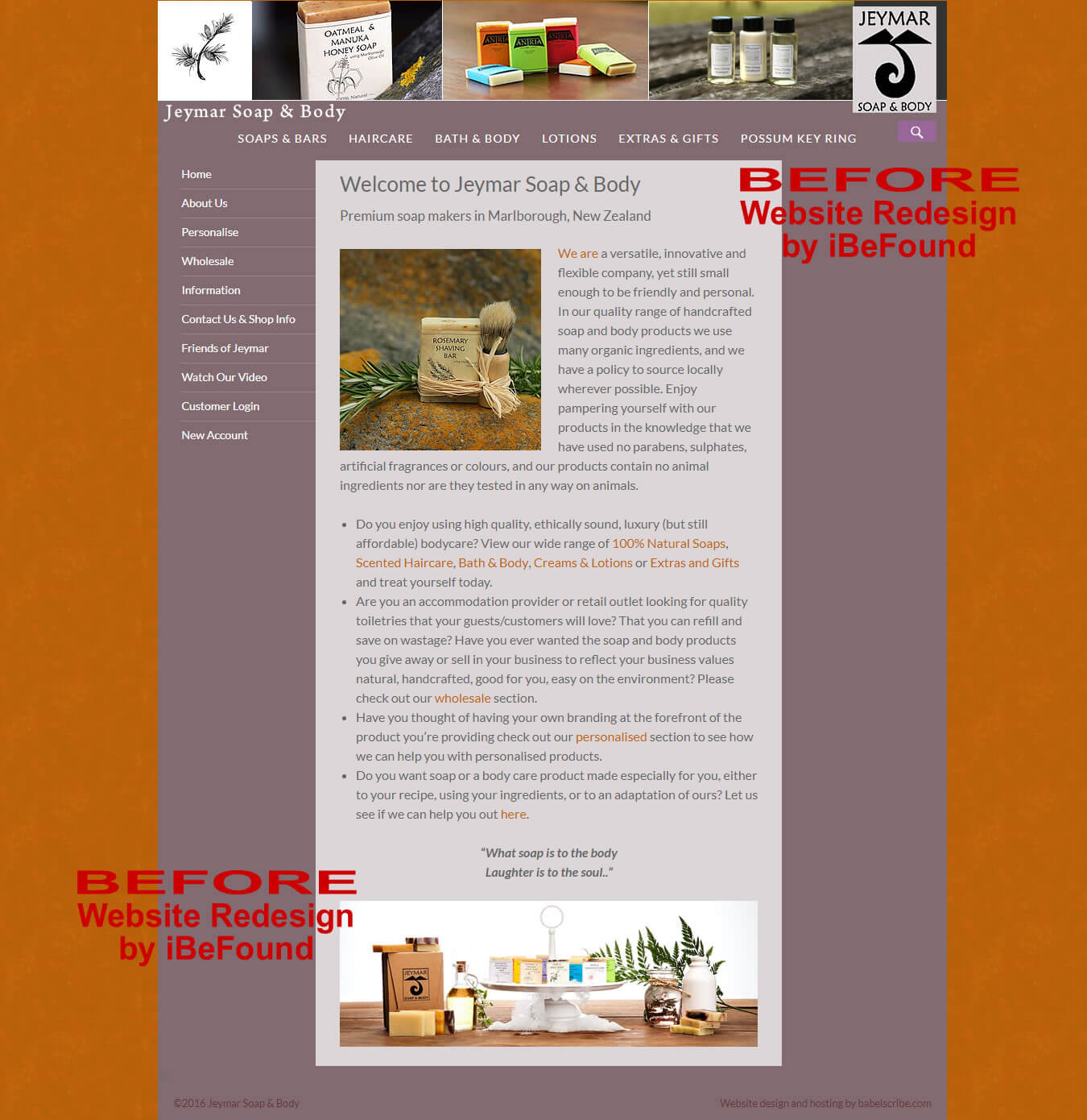 Homepage Of Jeymar Soap And Body Before Website Redesign By IBeFound