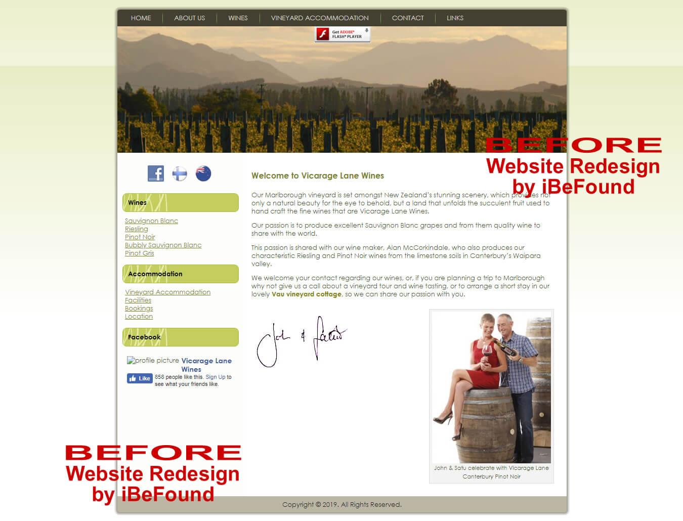 Homepage Of Vicarage Lane Wines Before Website Redesign By IBeFound Digital Marketing