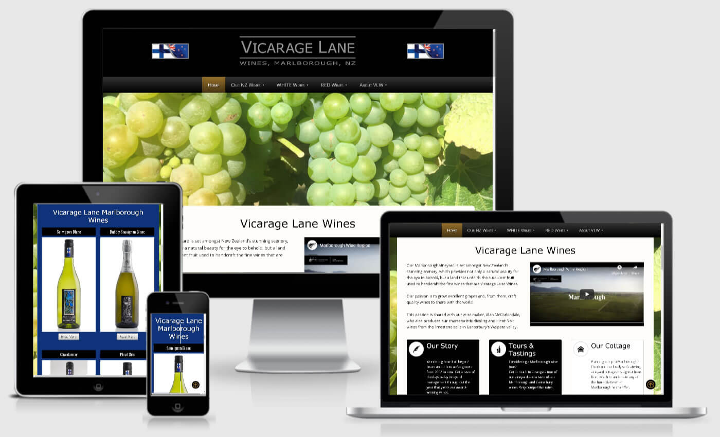 Website Design For Vicarage Lane Wines By IBeFound