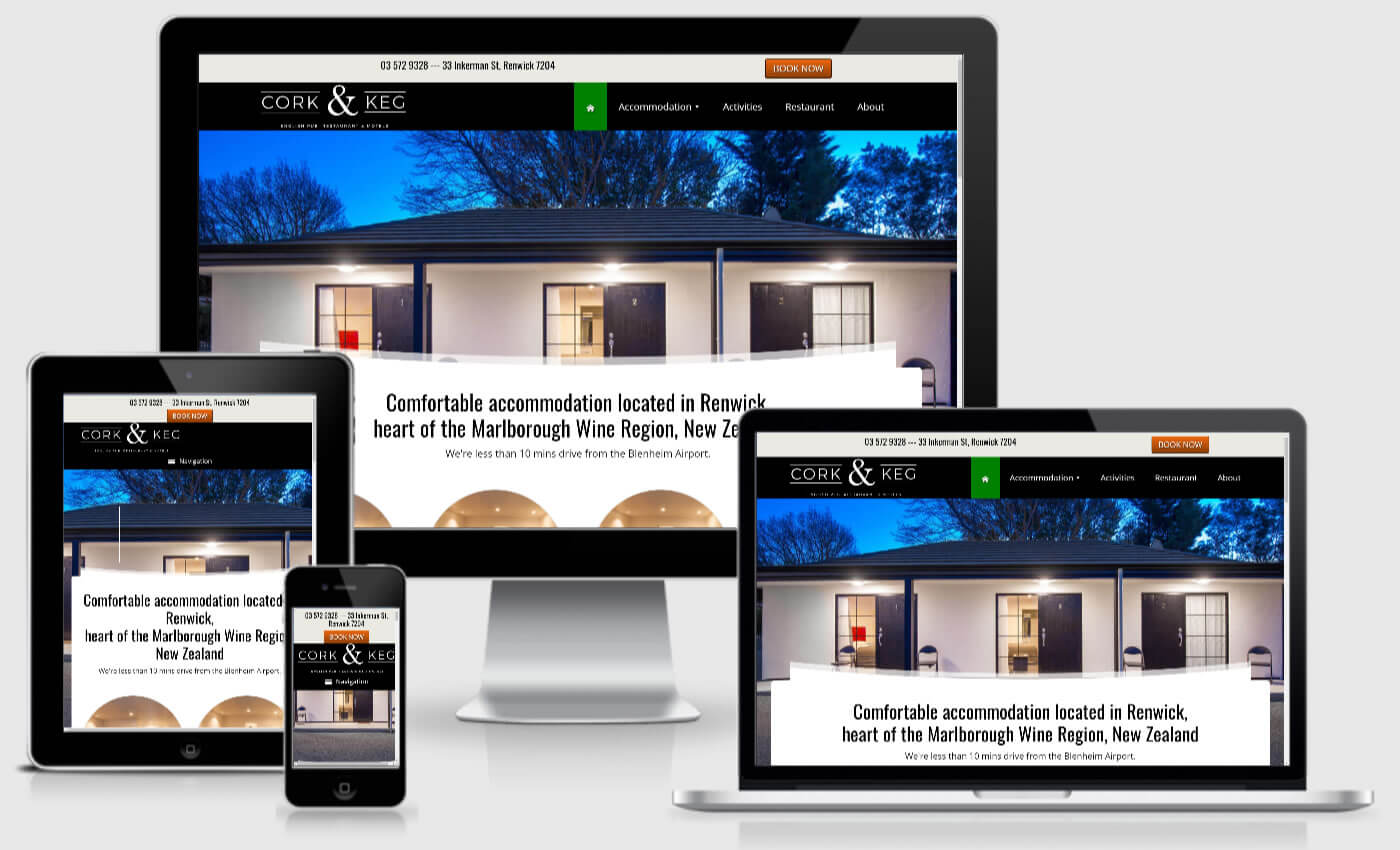 Website Design For Cork And Keg Motel By iBeFound